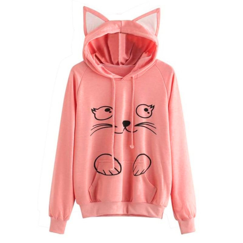 Women Sweatshirt Female Planet Love Print Hoodies Casual Solid Loose Drawstring Sweatshirt Fashion Long Sleeve Hooded Female Top