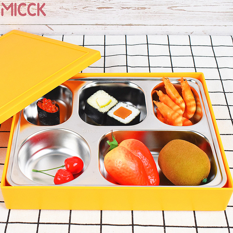 MICCK Japanese-style Stainless Steel Lunch Box Office Worker Business Glossy Cover Practical Large-capacity