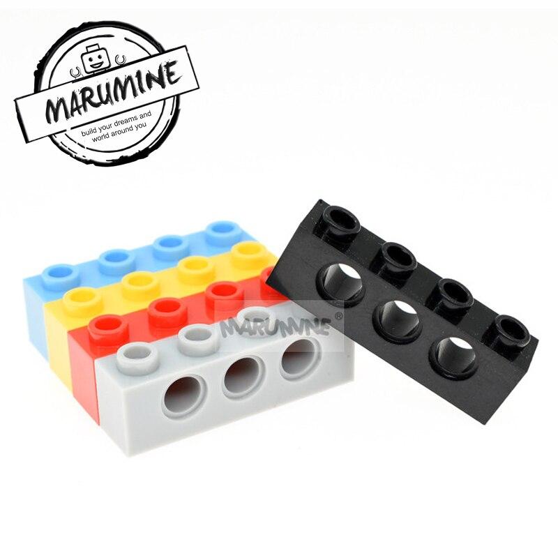 MARUMINE 1x4 com Furo Technic Tijolo 50 pçs/lote Plástico Blocos de Construção Tijolos Peças Acessórios 3701 MOC Conjunto Para aprendizagem
