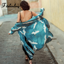 Fitshinling Crane Print Beach Cover-Up Swimwear 2020 Green Slim Sexy Long Cardigan Long Sleeve Side Split Kimono Holiday Boho