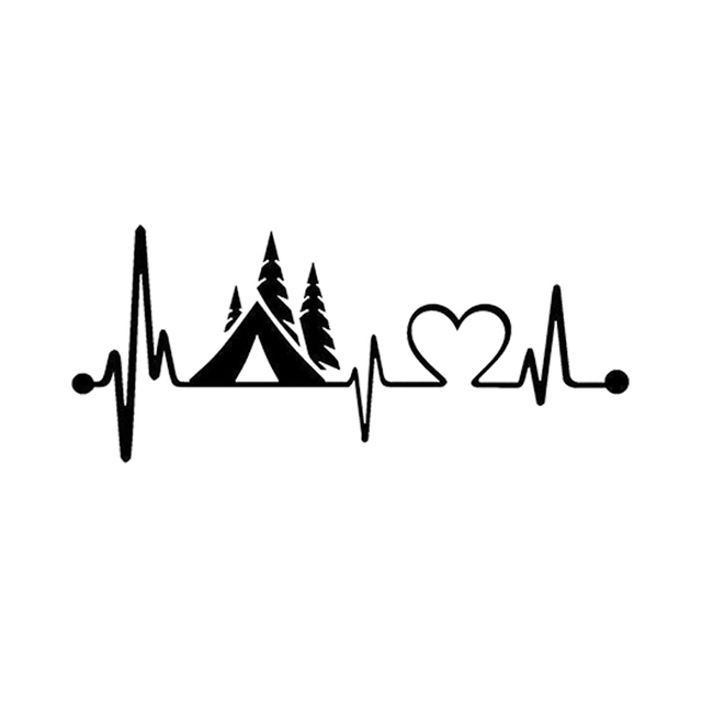 Tent Camper Heartbeat Lifeline Monitor Camping Decal Sticker Car Truck SUVs Motorcycle Car Styling Vinyl Decals Car products