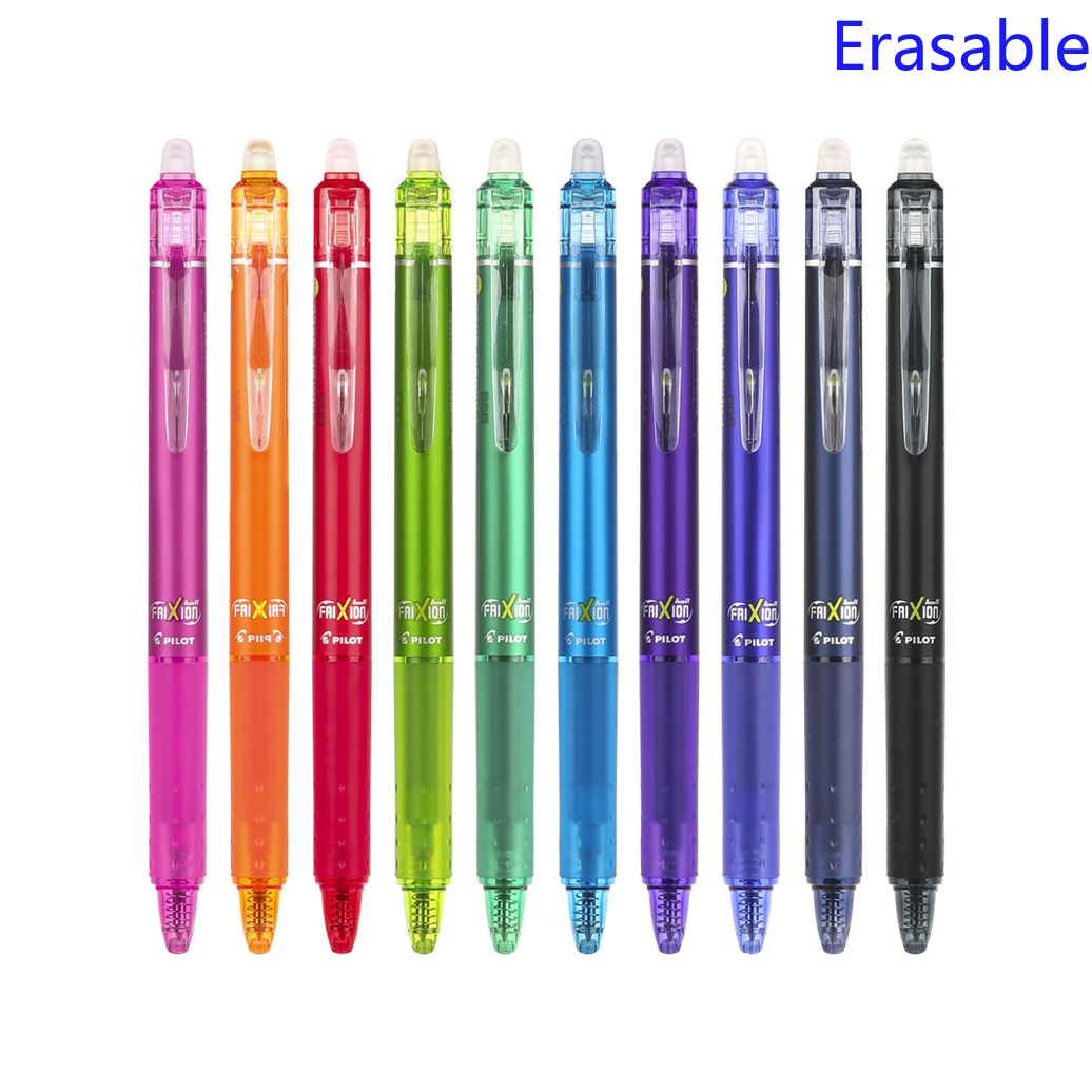 Original Pilot FriXion Clicker Ball Knock 0.5mm Erasable Gel Pens Fine Point Black Blue Red