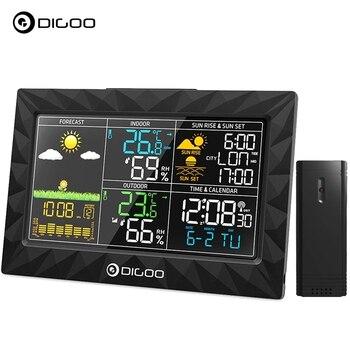 DIGOO DG-TH8988 LCD estación meteorológica de Color + Sensor remoto al aire libre termómetro humedad Despertador con función Snooze Sunrise Sunset calendario