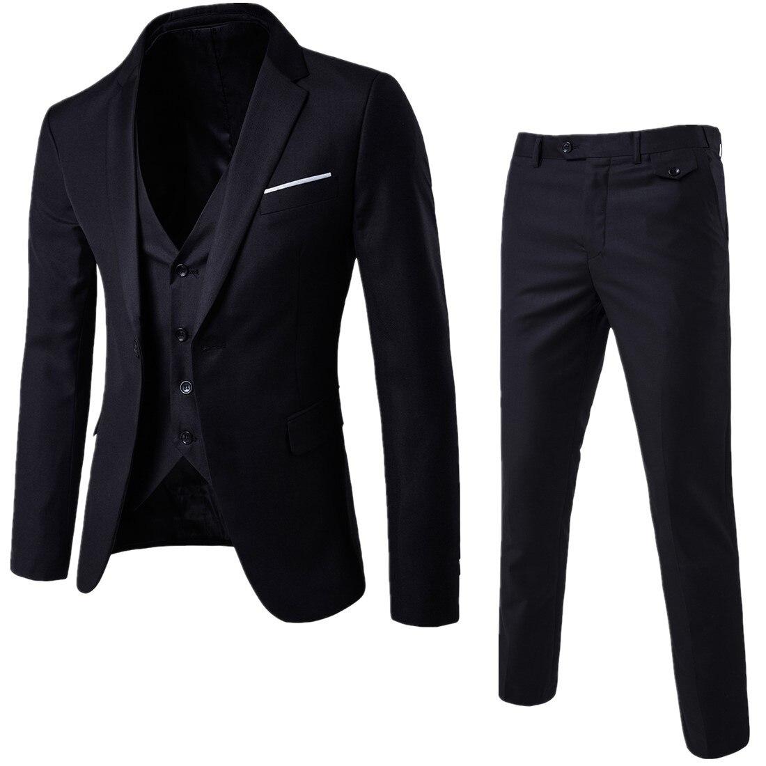Korean-style Suit Single-Button Suit Slim Fit Leisure Suit Elegant Men Three-piece Set Groom Best Man Marriage Ceremony