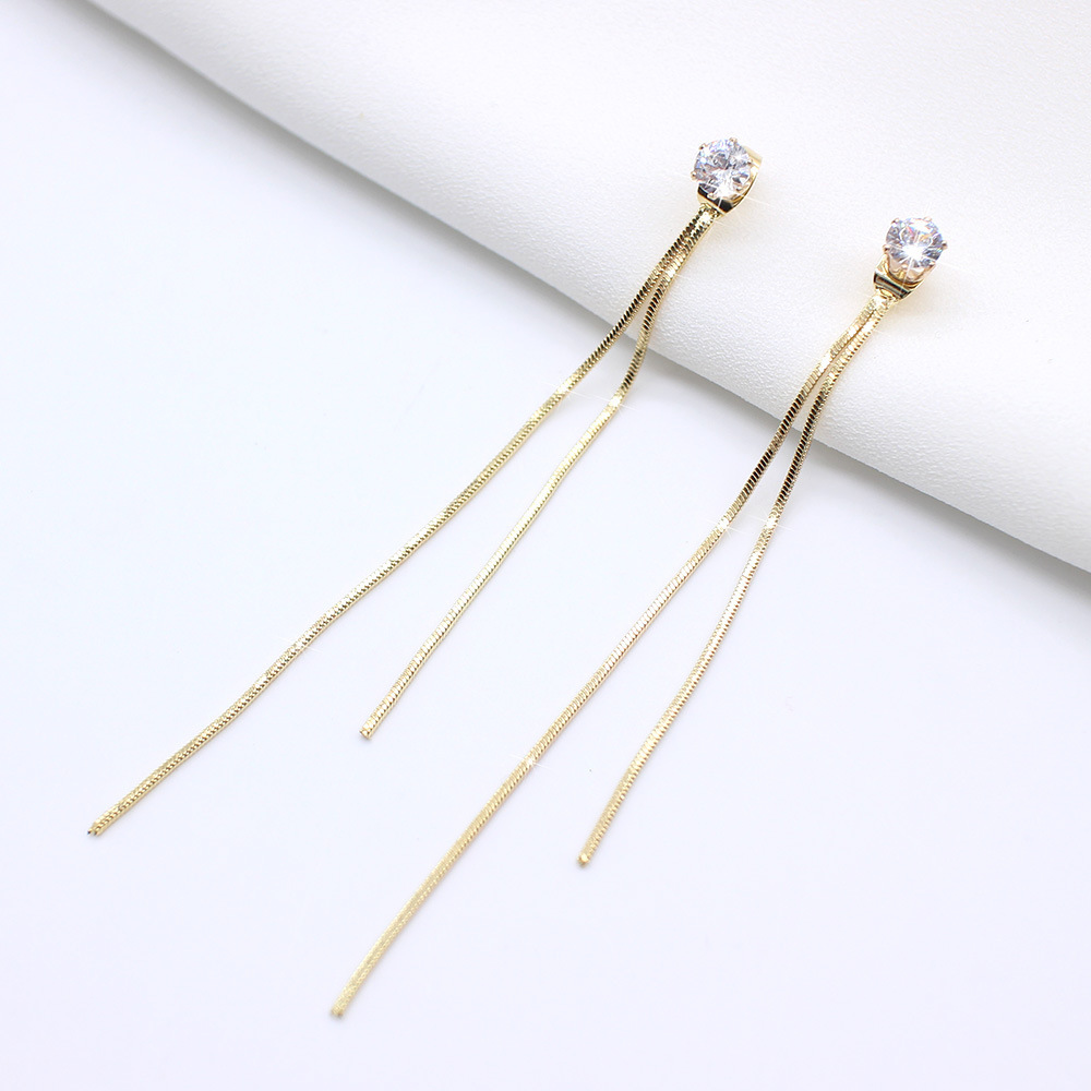2020 New Long Crystal Tassel Gold Color Dangle Earrings for Women Wedding Drop Earing Fashion Jewelry Gifts 1