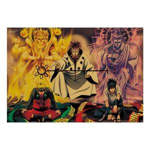 Classic Vintage Cartoon Anime Naruto Sasuke Kraft Paper Poster Room Decoration Stickers Home Decor Wall Sticker Posters
