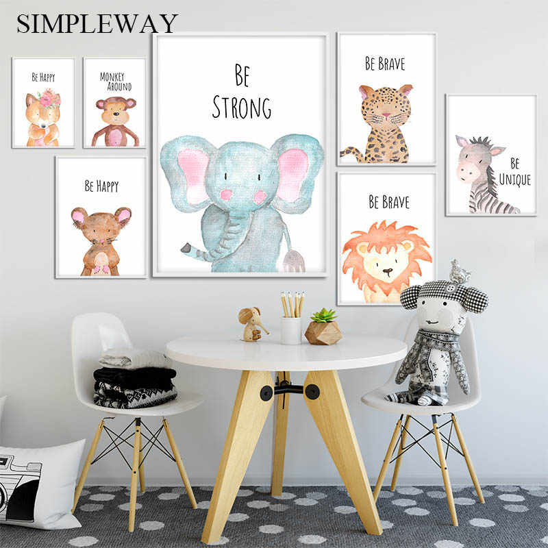 Baby Nursery Wall Art Canvas Poster Print Woodland Animal Lion Elephant Nordic Kid Decoration Picture Painting Child Room Decor