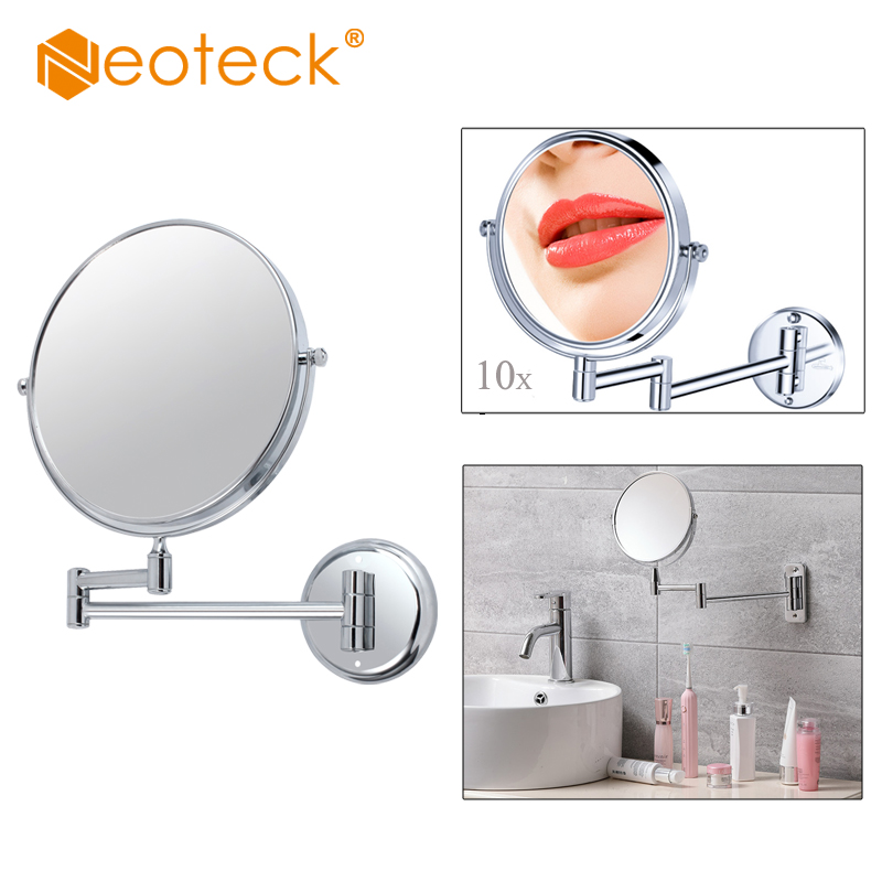 (Clearance Sale) 10X Magnification Mirror 8 Inch Wall Mount Extending Folding Double Side Makeup Mirror Bath Shaving Chrome