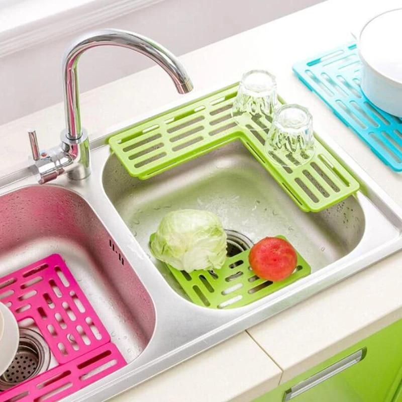 1 pc kitchen sink protector mat pad set quick draining water draining holder plastic drain pad