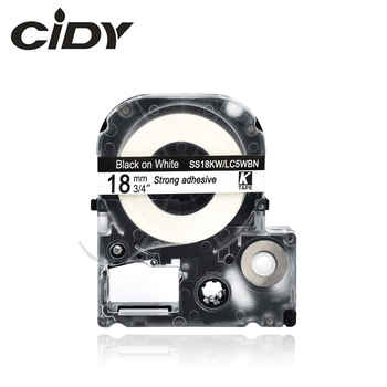 CIDY 30Pcs SS18KW LC5WBN LC-5BWN Compatible For Epson/KingJim LW-300 LW-400 18mm Black on White adhesive label tape ribbon