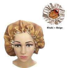 イスラム教徒の女性夜の睡眠キャップサテン弾性ボンネット帽子ヘアケアのためのヘッドカバーを調整損失帽子ビーニーskulliesイスラム新