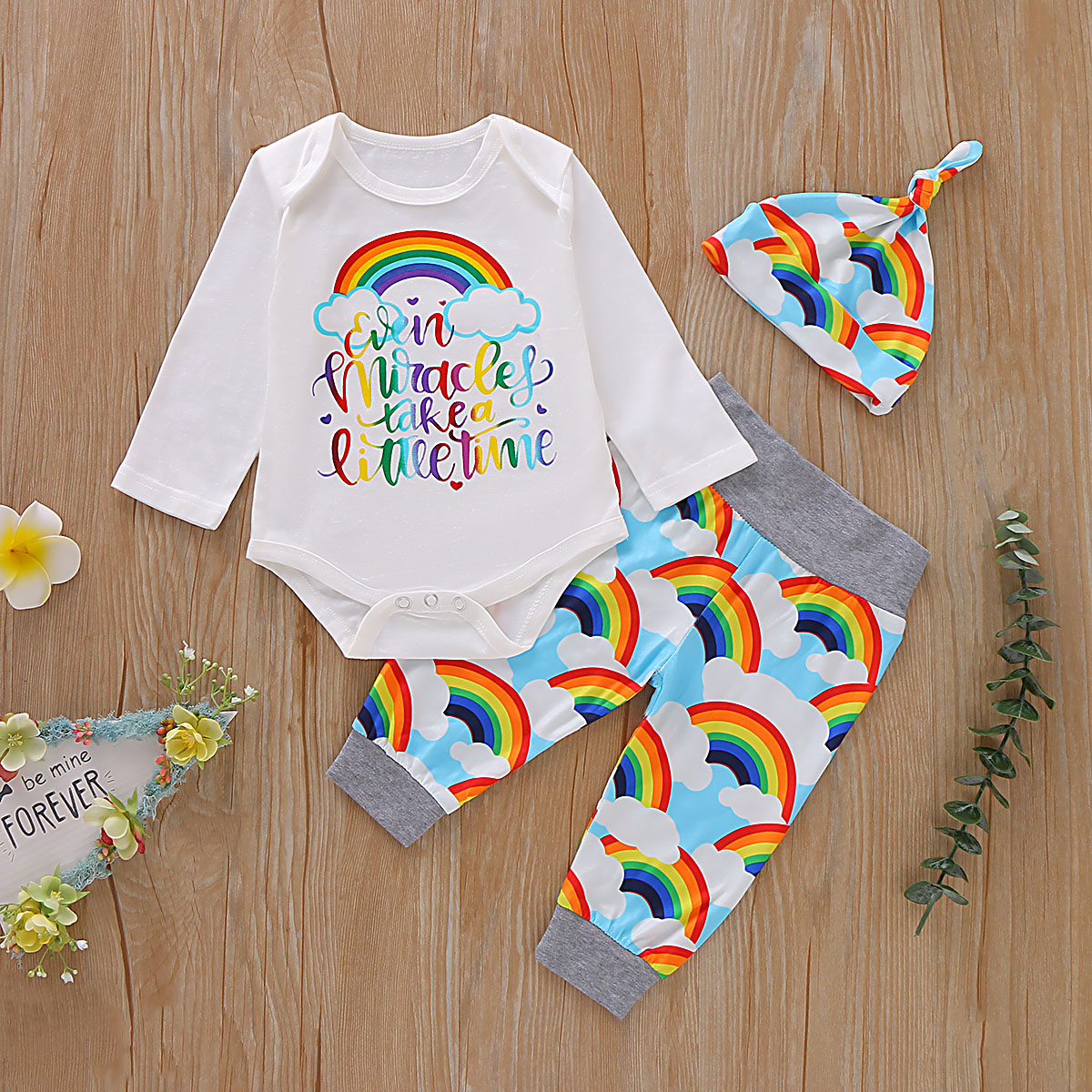 Toddler Kids Girls Rainbow Print Hoodies Blouse Tops+Pants Baby Clothes Outfit