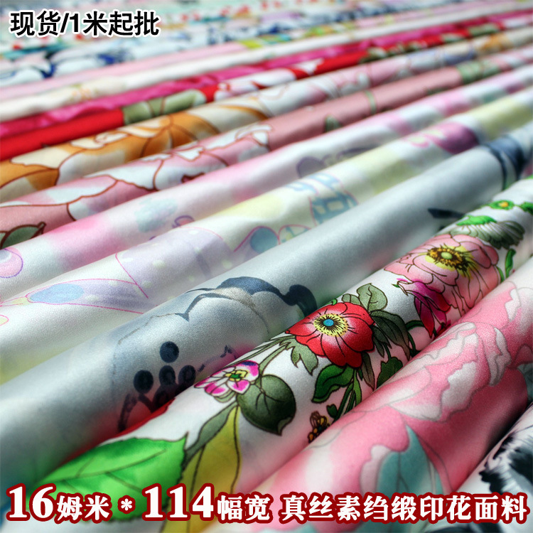 Silk Fabrics For Dresses Blouse Scarves Clothing Meter 100% Pure Silk Satin Charmeuse 16 Mill Printed Floral High-end Fashion