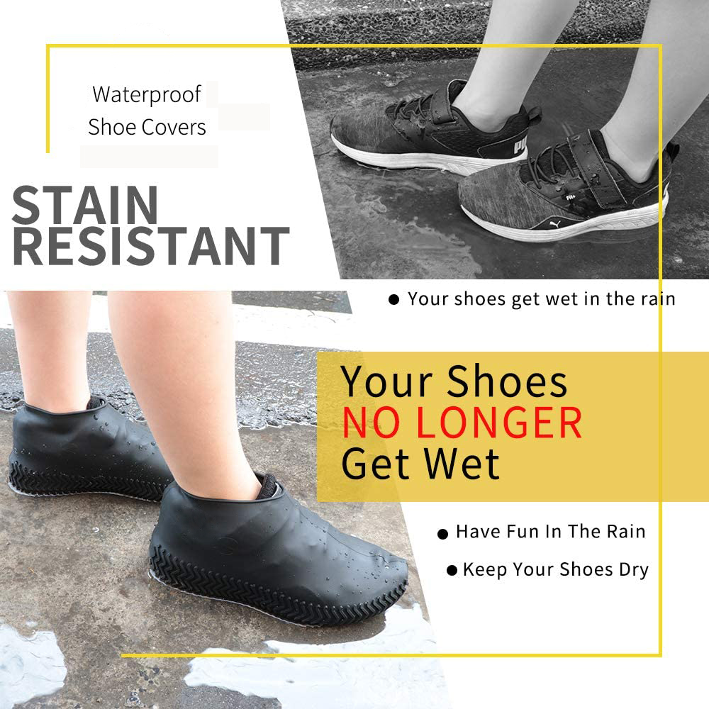 Waterproof Shoes Covers Environmental Protection Reusable Anti-Slip Motorcycle Rain Boot Soft Cover Silicone Elastic-2