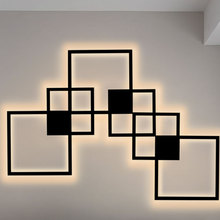 Hartisan Square Wall Lamp LED Nordic Design Bedroom Living Room Wall Decoration Light  Background DIY Simple Lighting Fixtures