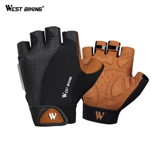WEST BIKING Bike Bicycle Cycling Gloves For MTB Road Mountain Bicycle Goods Gloves Bike Shock Glove Cycling Sport Half Finger mtb bicycle gloves hand protection mittens cycling bike half finger gloves for bicycle accessories sports gloves