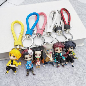 Image 1 - 6pcs/set Anime Demon Slayer Action Figure Toy Llaveros Kimetsu No Yaiba KeyChains Pendant Doll Toys