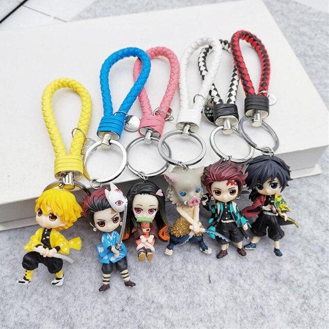 6pcs/set Anime Demon Slayer Action Figure Toy Llaveros Kimetsu No Yaiba KeyChains Pendant Doll Toys