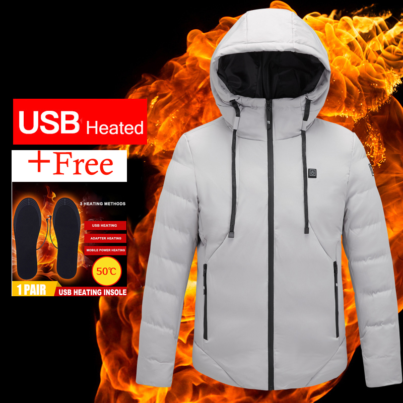 USB Smart Electric Heated Hooded Men Women Cotton Jackets Thicken Winter Down Jacket 2019 New Outdoor Hiking Cycling Clothing