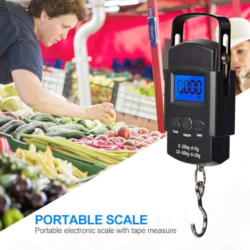 40/50Kg Kitchen Digital Scale Electronic with Tape Measure Handheld Measuring tools Scale Weight Pocket Luggage Weighing Scales