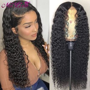 Curly Lace Front Human Hair Wigs 30 Inch 13x4 Lace Frontal Wigs For Women Mi Lisa Hair Malaysian Remy 4x4 Lace Closure Wigs(China)