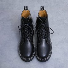 Fashion Lace Up Flat Jason Martins Boots Women Black Punk Chelsea Ankle for Solid Winter Botas Mujer