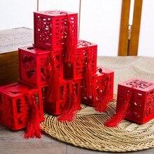 Regalos caja de dulces con borla para fiestas de boda suministros caja de regalo de madera estilo chino Vintage artículos novedosos mano de madera roja -Se celebró