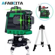 12 линий 3D лазерный уровень Зеленая лазерная линия самонивелирующийся 360 градусов Горизонтальные и вертикальные поперечные линии со штативом для улицы