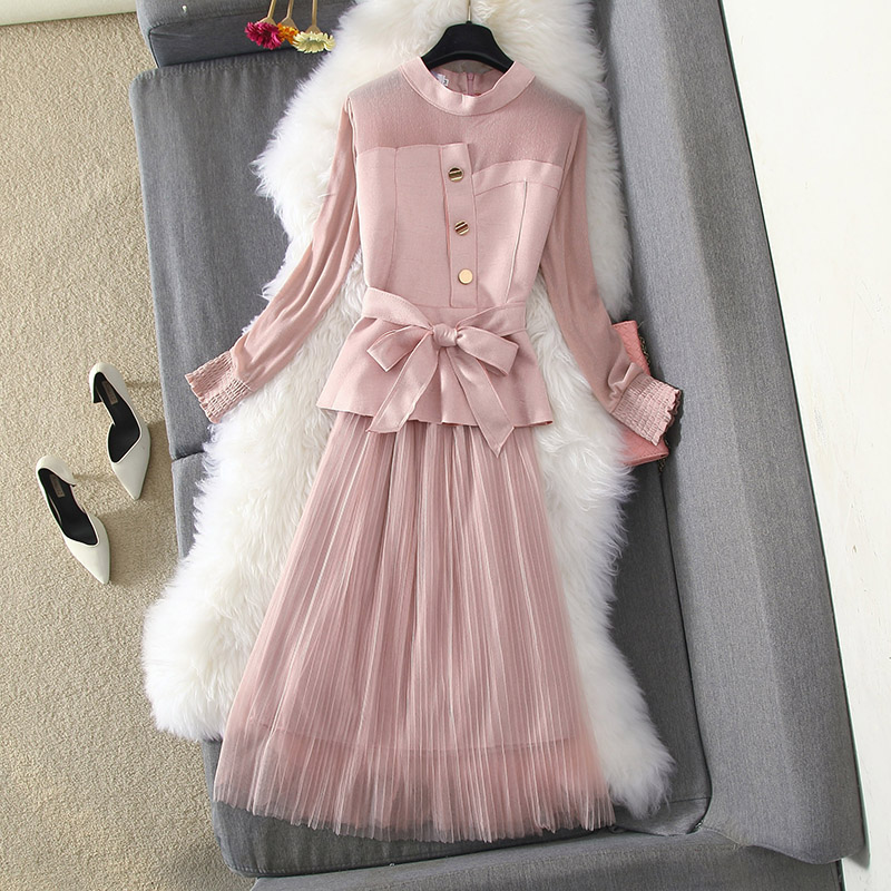 Women Mesh Patchwork Two Piece Set Casual New 2020 Spring Summer O-neck Ruffles Sexy Tops + A-line Ruched Mesh Skirts Suits