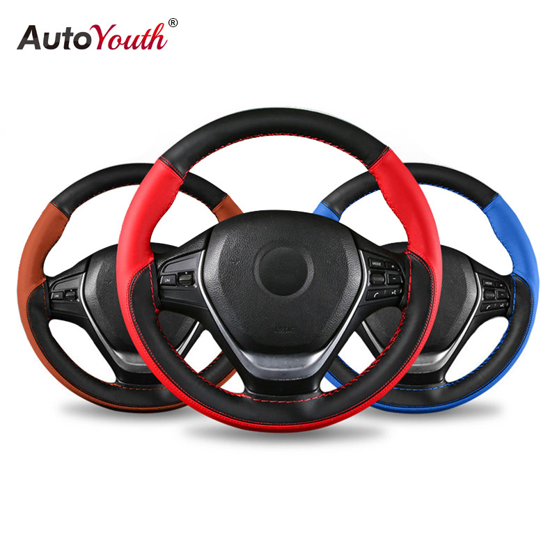 AUTOYOUTH Microfiber Leather Universal DIY Car Steering wheel Cover With Needles and Thread Anti Slip Soft Fiber Leather 15 inch|Steering Covers|   - title=