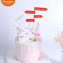 Я еду в путешествие тема торт Топпер украшение для торта «С Днем Рождения» вечерние принадлежности для детей и взрослых