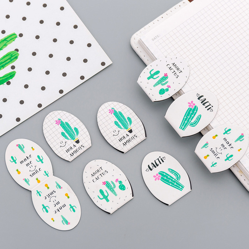 4 Pcs/pack Cartoon Cactus Magnetic Bookmark Set Mini Paper Clip Folder Escolar Plants Magnet Book Marks School Office Supply