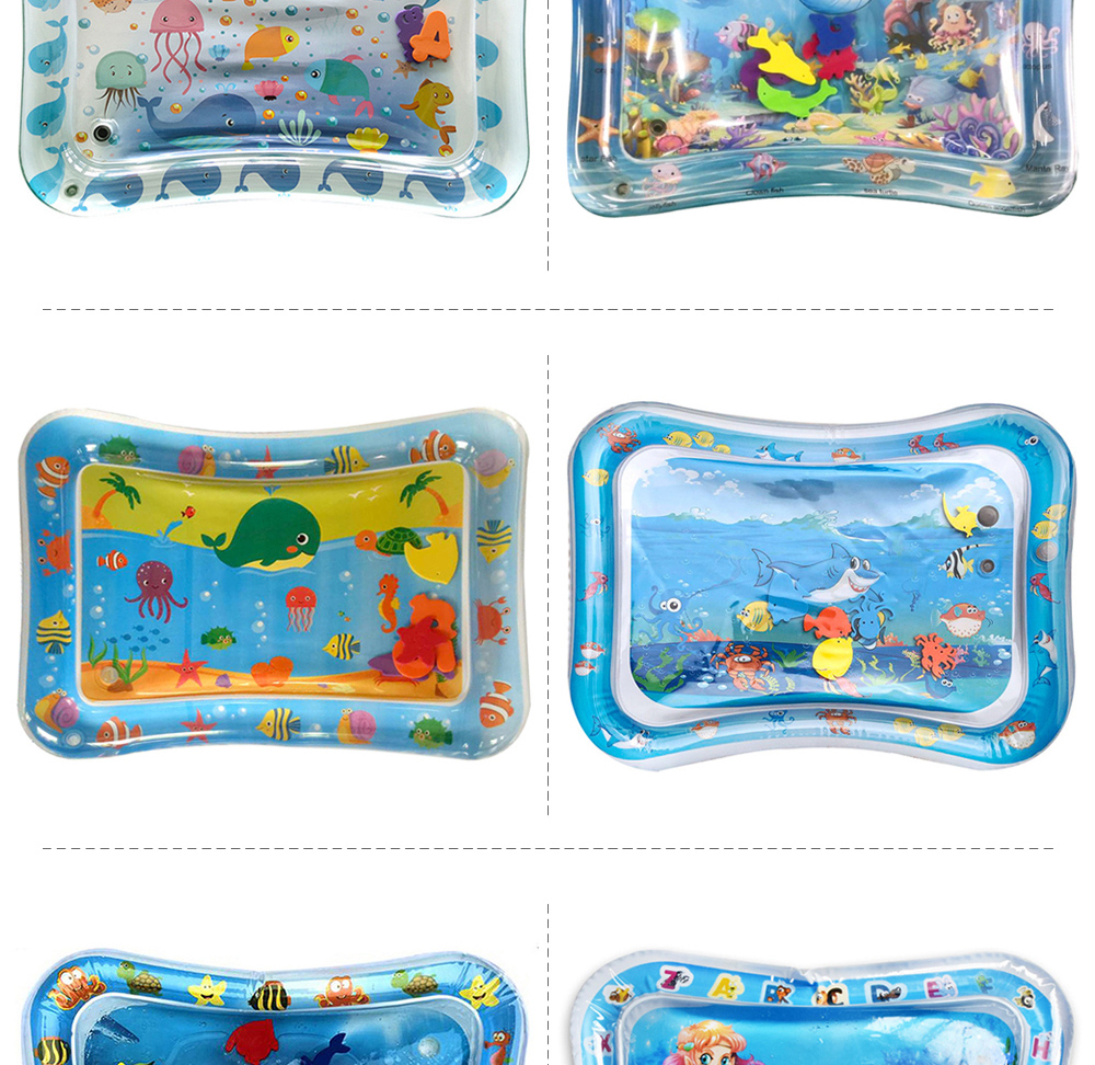 H957ac631e9804f5095799cdbb54dfc71M 36 Designs Baby Kids Water Play Mat Inflatable PVC Infant Tummy Time Playmat Toddler Water Pad For Baby Fun Activity Play Center