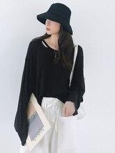 цена на Fashion Loose Hollow Long Sleeve Lool slim Women T shirt Thin Female Tops for Autumn
