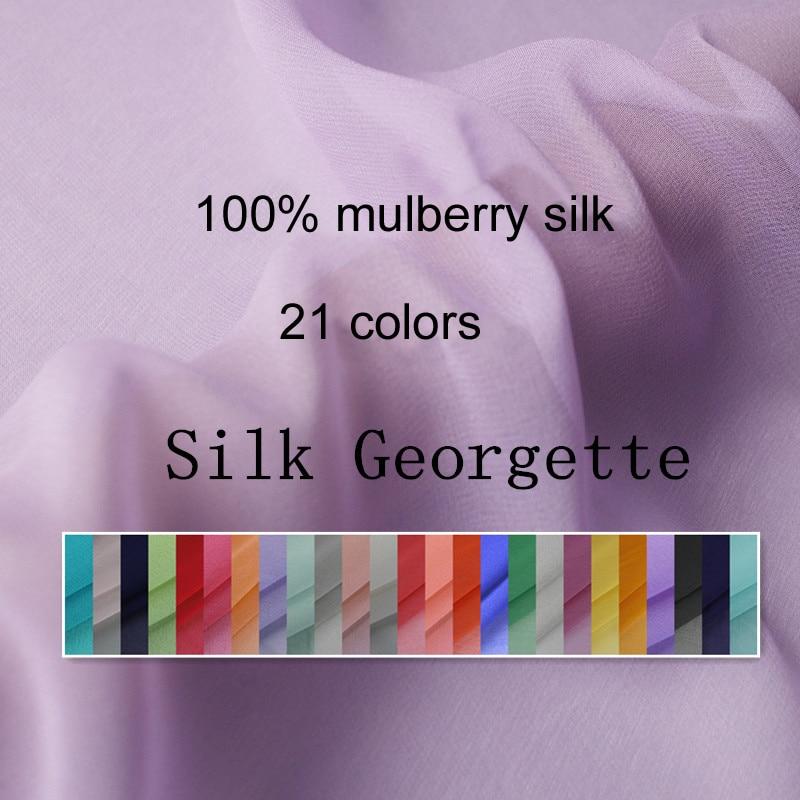 100cm*114cm Plain Silk Material Georgette Sheer Fabrics Dress Scarfs Material Silk Chiffon