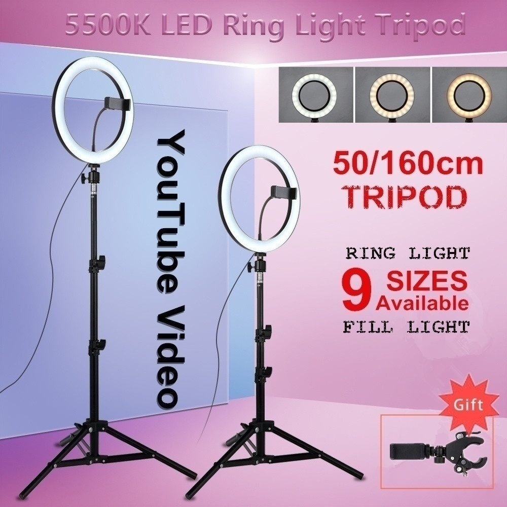 <font><b>16</b></font>/26cm Photography Youtube Selfie Lighting Led <font><b>Ring</b></font> <font><b>Light</b></font> Smart phone Video studio <font><b>light</b></font> Make Up <font><b>Ring</b></font> Lamp With Tripod image