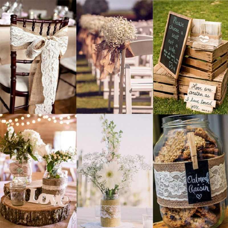 50mm naturalna juta juta hesji Lvory biała taśma koronkowa rolka 2M Vintage dekoracje ślubne rzemiosła imprezowe pakowanie prezentów AA8057