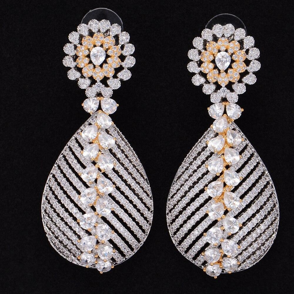 LARRAURI luxe brillant cristal autrichien clair avec Mini zircon cubique complet 3 couleurs pendentif boucles d'oreilles pour les femmes de haute qualité