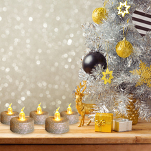 12pcs Creative Gold Powder Candle Light Christmas Home Party Atmosphere Decoration Lighting Flameless LED Electronic Candle Lamp