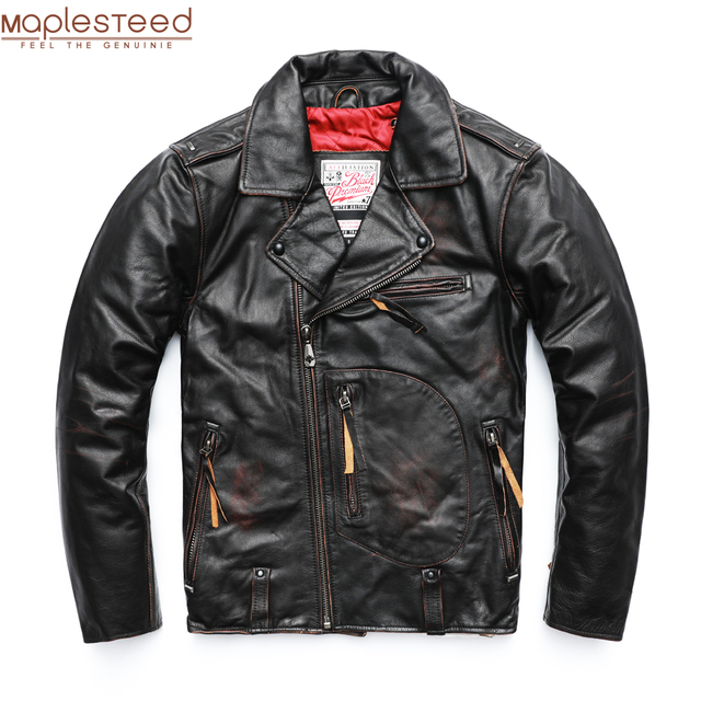 MAPLESTEED Vintage Original Pilot Leather Jacket Men Genuine Cow Motorcycle Male Vintage Jacket Red Brown Motor Biker Coat M105