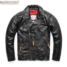MAPLESTEED Vintage orijinal Pilot deri ceket erkek hakiki inek motosiklet erkek Vintage ceket kırmızı kahverengi Motor Biker ceket M105