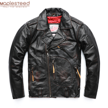 MAPLESTEED בציר מקורי טייס עור מעיל גברים אמיתי פרה אופנוע זכר בציר מעיל אדום חום מנוע Biker מעיל M105