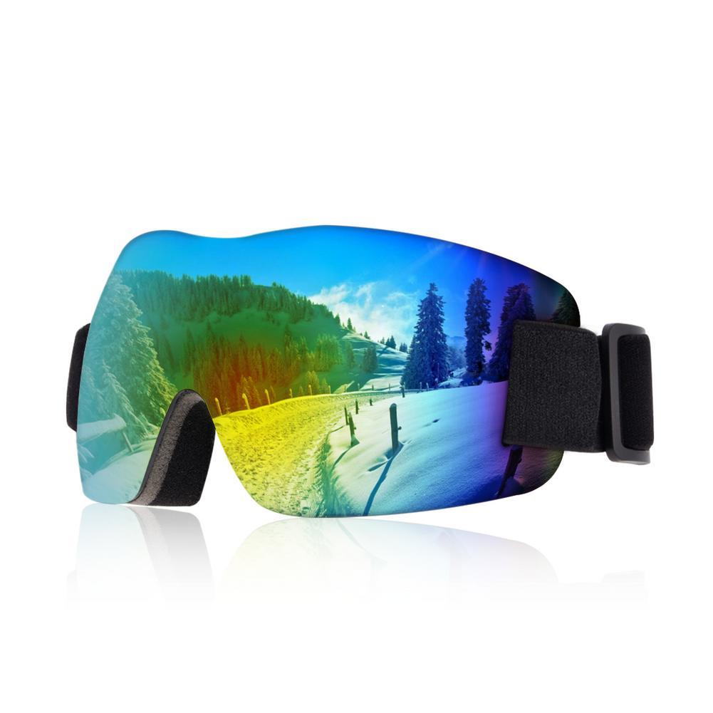 Бескаркасные трехъярусные высококачественные губчатые лыжные очки 100% УФ-Защита Эластичный регулируемый ремешок, предотвращающий ослепит...