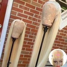 Pelucas de cabello humano liso para mujeres negras postizo con cierre de encaje Remy brasileño prearrancado, 613 Rubio, 180%, 13x1, 4x4