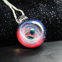 New Nebula Galaxy Double Sided Pendant Necklace Universe Planet Jewelry Glass Art Picture Handmade Statement