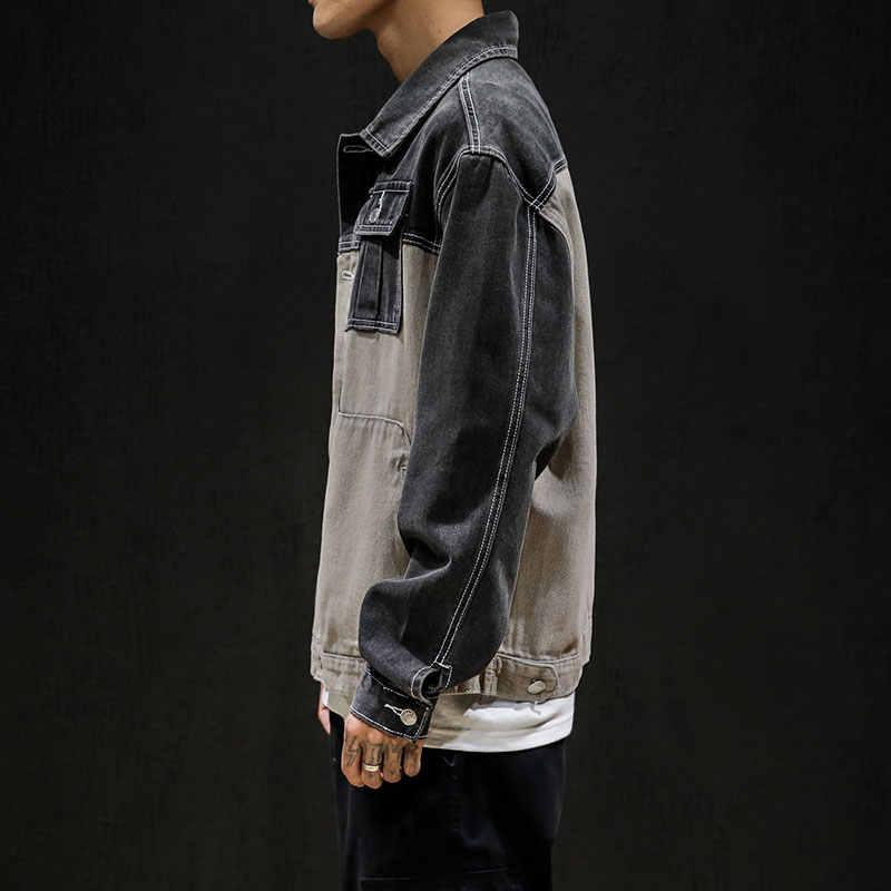 Jeans Jas Mannen Hip Hop Patchwork Jas Streetwear Jas Casual Bomber Jassen Slim Mannen Hoge Kwaliteit Cowboy Denim Jasje