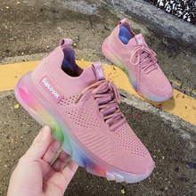 Woman Sneakers Mesh Flat shoes Rainbow Bottom Casual Shoes for Woman Outdoor Lace Up Walking Shoe Ladies Trainers Platform Shoes woman sneakers metallic color woman shoes front lace up woman casual shoes low top rivets embellished platform woman flats brand