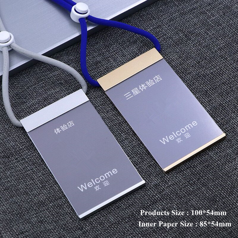 Aluminum Alloy Vertical Name Tag Badge Holders ID Card Holders Work Business Pass Case With Adjustable Neck Lanyard/Strap