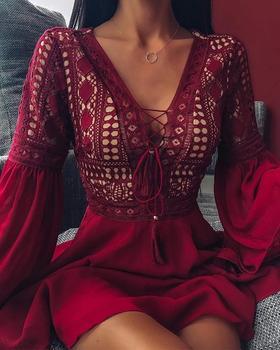 цена на 2020 Women Stylish V-Neck Dress Long Sleeve Fashion Casual Dress Lace-Up Front Lace Trim Mini Dress