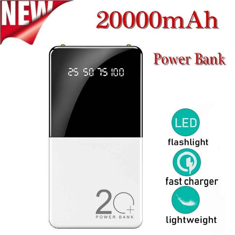 2020 Power Bank 20000 MAh Portable Power Bank Charger dengan Layar Digital LED Eksternal Baterai untuk Xiaomi IPhone7 8 X XS